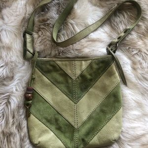 Fossil green suede crossover bag!